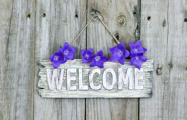 Rustic welcome sign with purple balloon flowers