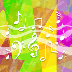 Music background with dancing musical symbols