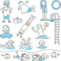 A collection of cartoons of people having fun swimming and diving.