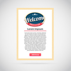 vector illustration of welcome banner with button join to us