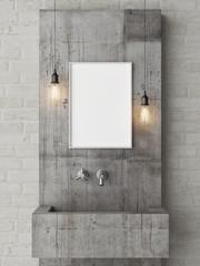 Poster mock up, loft bathroom, 3d render