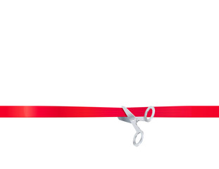 vector illustration of Scissors cut the red ribbon, isolated on