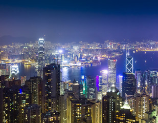 Night views of Hong Kong city from the viewpoint of Victoria Peak