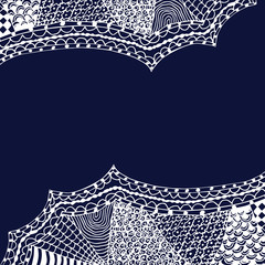 white zentangle hand drawn ornament on blue backdrop vector illustration