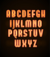 vector illustration of Illustartion of retro glowing font