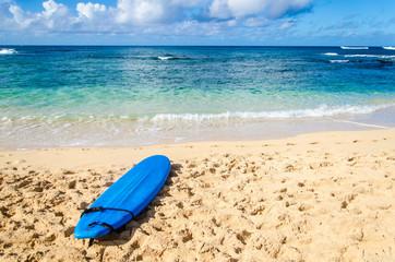 Surfboard on the sandy beach in Hawaii