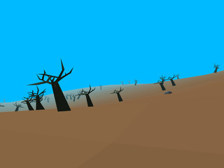 Low poly retro style moorland