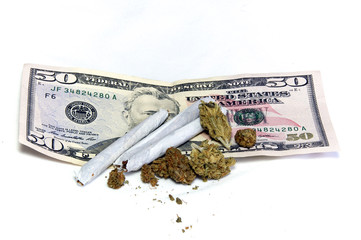 marijuana on top of money