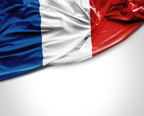 French waving flag on white background