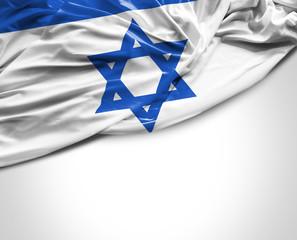 Israeli waving flag on white background