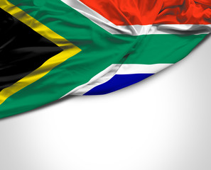 South African waving flag on white background