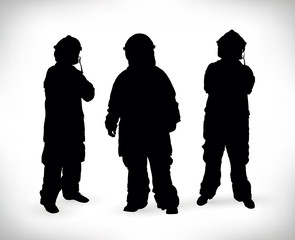 Black silhouette of a group of firemen isolated on a white background