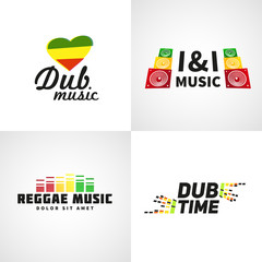 Set of africa flag logo design. Jamaica music vector template
