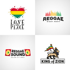 Set of reggae music vector design. Love and peace concept. Judah