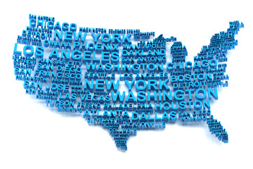 USA map formed by names of major cities