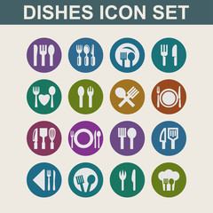 food eat tools instruments icon set