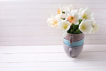 Fresh narcissus  and tulips in vase