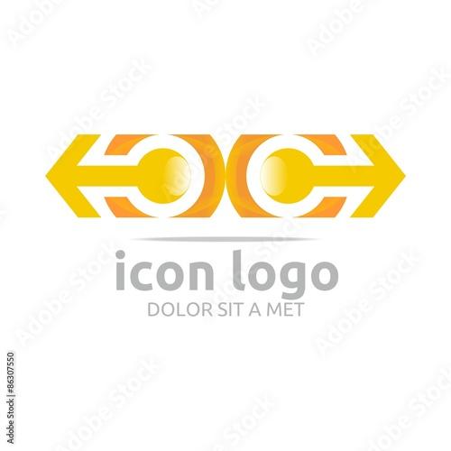 Logo Two Icon Arrow Letter C Orange Design Symbol Abstract Stock