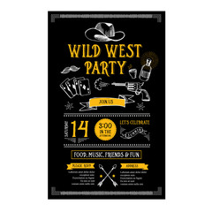 Invitation wild west party flyer.Typography and design.