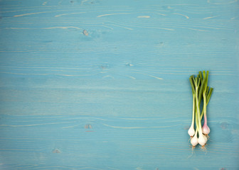 onion  on a blue wooden background