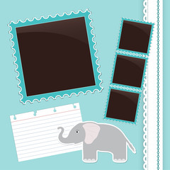 Photo album page with gelephant