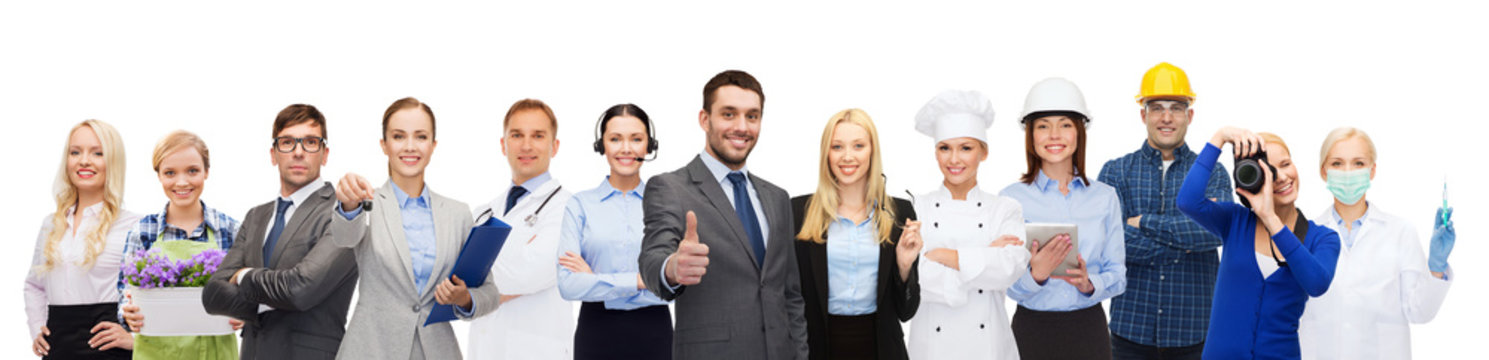 happy businessman over professional workers