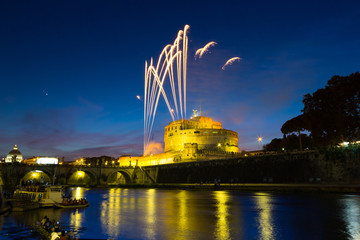 Fireworks on Castel Sant'Angel (Mausoleum of Hadrian). Rome - Italy
