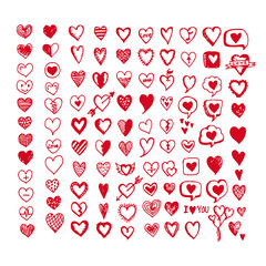 Hearts icon set. Hand drawn Illustration