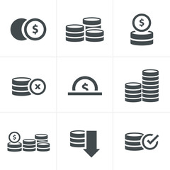 Coins Icons Set, Vector Design black color