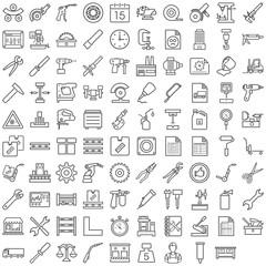 Schwarze Symbole aus dem Produktionsbereich in Liniendarstellung