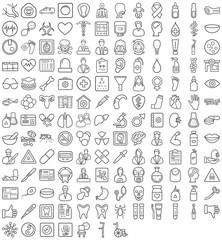 Schwarze Symbole aus dem Gesundheitssektor in Liniendarstellung