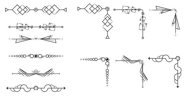 Set of decorative elements for design