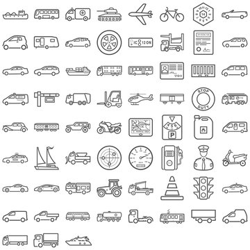 Schwarze Symbole aus dem Transportsektor