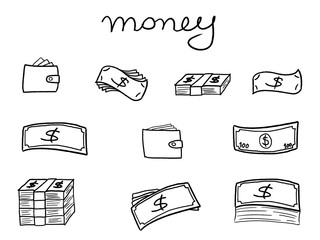 Sketchy banknote icons