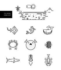 Sea animal icon set. Seafood. Outline design.