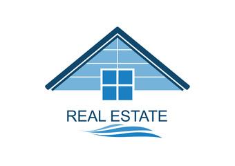 House blue Real Estate logo icon  design