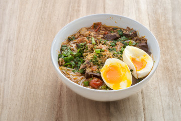 Thailand's KaNom jeen Noodles and curry with egg