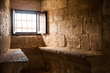 Window and two seats in medieval crusader's castle