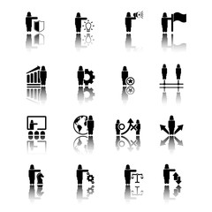 Business and management icon set - woman, female characters icon set