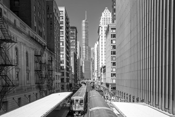 Train in downtown Chicago IL