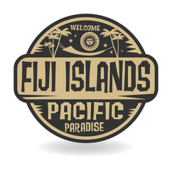 Stamp or label with the name of Fiji Islands, Pacific Paradise