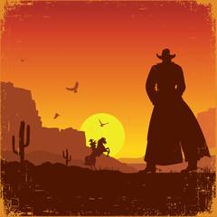 Wild West american landscape.Vector western poster