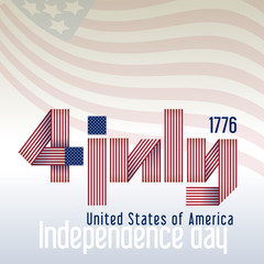 Striped label for  4th of July. Striped label for Independence Day 4th of July with american flag