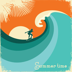 Surfer and sea wave.Retro poster illustration