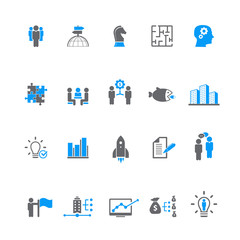 Set of 20 vector business and management icons