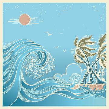 Big waves blue seascape