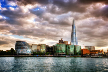 Wall Mural - City Hall and the Shard. London, England the UK. River Thames at sunset