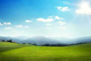 landscape of green meadow with hills