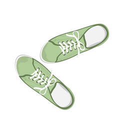 Green sport gumshoes. Realistic flat illustration isolated on white background. View from above