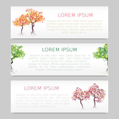 Set of three banners with abstract trees and place for inscription. Vector, EPS 10